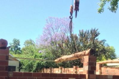 Bush pol pergolas installed by crane